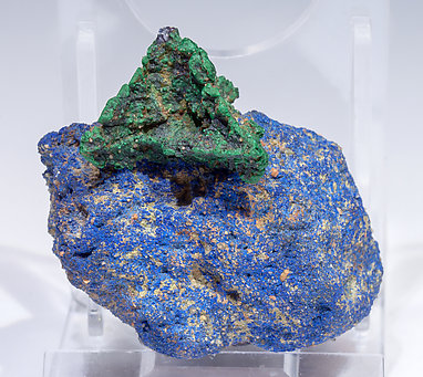 Malachite after Cuprite with Azurite. Front