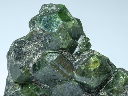 Chrysoberyl (variety alexandrite) with Phlogopite. Detail - neon light (day light)