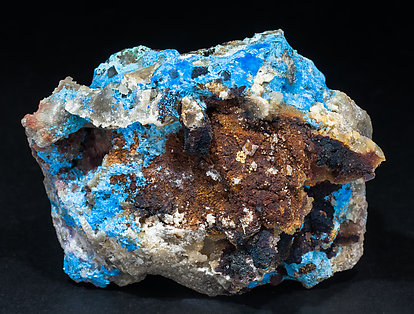 Carbonatecyanotrichite with Calcite and Fluorite. Rear