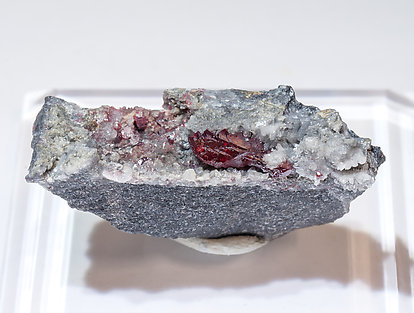 Cinnabar with Quartz and Calcite.