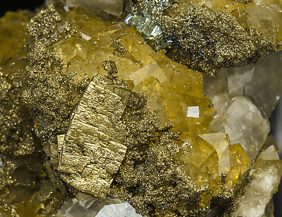 Calcite with Fluorite and Pyrite.