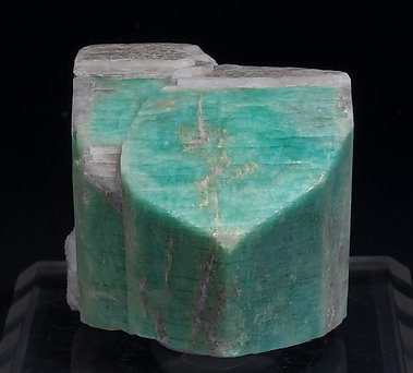 Microcline (variety amazonite white cap). Front