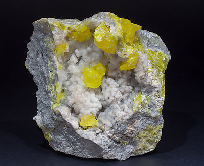 Sulphur with Calcite. Rear
