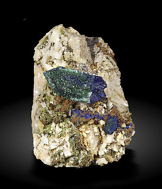 Doubly terminated Azurite with Malachite and Dolomite.