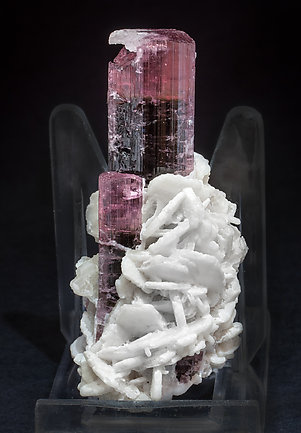 Elbaite (variety rubellite) with Albite. Side