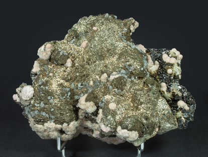 Pyrite after Pyrrhotite with Pyrite, Rhodochrosite, Sphalerite and Quartz.