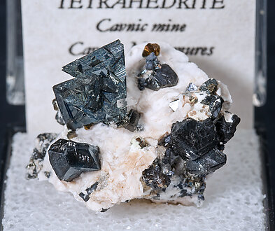 Tetrahedrite with Calcite and Chalcopyrite.