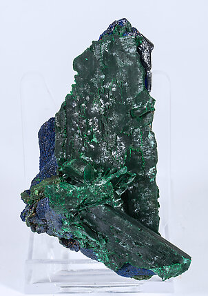 Azurite  with Malachite after Azurite. Front