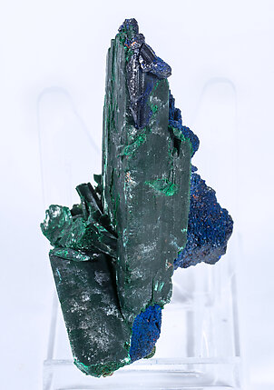 Azurite  with Malachite after Azurite. Side