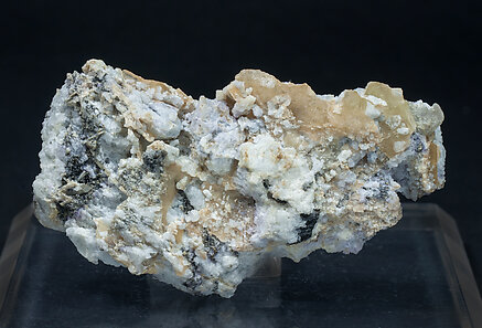 Wulfenite (variety chillagite) with Cerussite, Galena and Baryte.