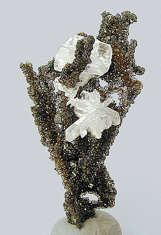 Cerussite on smoky Quartz.