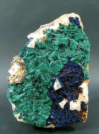 Malachite-Azurite on Fluorite.