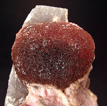 Elbaite (variety rubellite) with Schorl and Calcite.