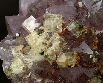 Fluorite on Quartz (variety amethyst).