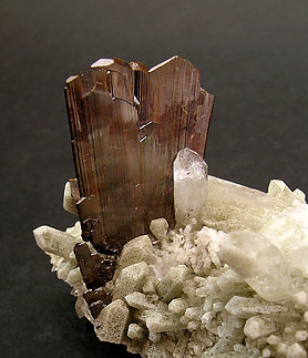Brookite on Quartz with inclusions.