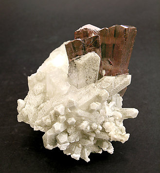 Brookite on Quartz with inclusions. Rear