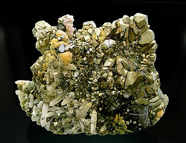 Pyrite with Quartz, Rhodochrosite and Sphalerite.