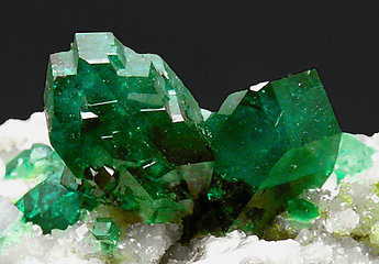 Dioptase on Calcite. Front