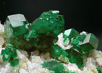Dioptase on Calcite. Rear