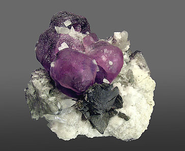 Fluorite with Tetrahedrite and Calcite.