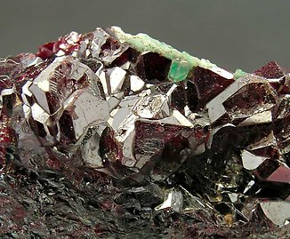 Cuprite with Malachite and Calcite.
