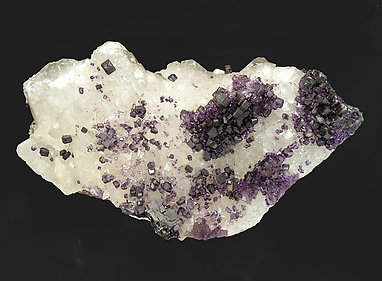 Fluorite on Quartz with Calcite.