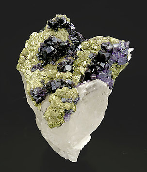 Fluorite with Pyrite and Quartz. Front