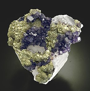 Fluorite with Pyrite and Quartz. Top