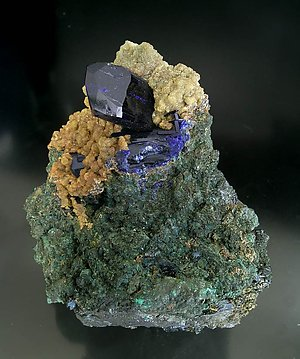 Azurite with Smithsonite. Front