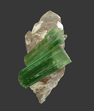 Elbaite on smoky Quartz. Front