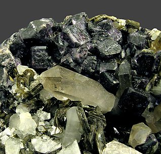Fluorite with Zinnwaldite and Quartz.