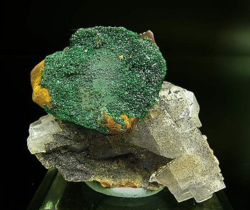 Chalcopyrite with Malachite on Dolomite.