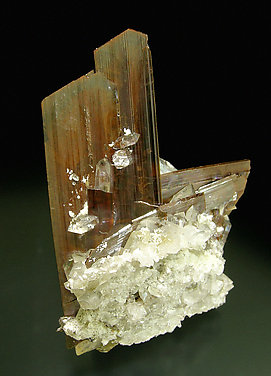 Brookite with Quartz. Rear