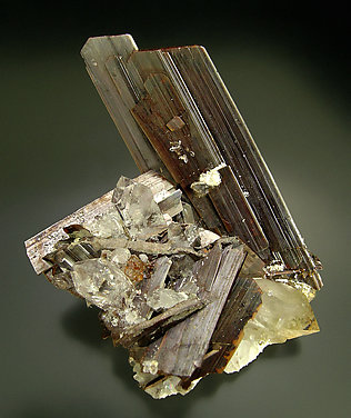 Brookite with Quartz. Side