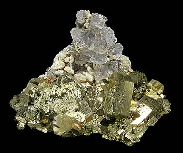 Fluorite with Pyrrhotite and Quartz.