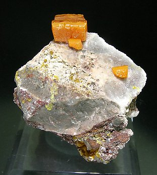 Wulfenite with Calcite. Front