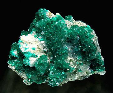 Dioptase with Calcite. Front
