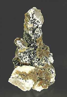 Manganilvaite with Quartz, Fluorapophyllite-(K) and Calcite. Side