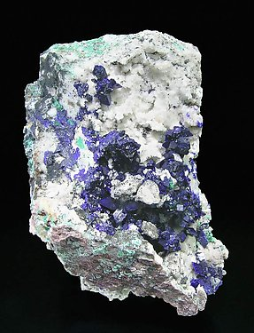 Azurite with Quartz.