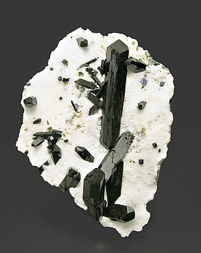 Neptunite with Benitoite on Natrolite.