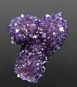 Quartz (variety amethyst) with Calcite. Front