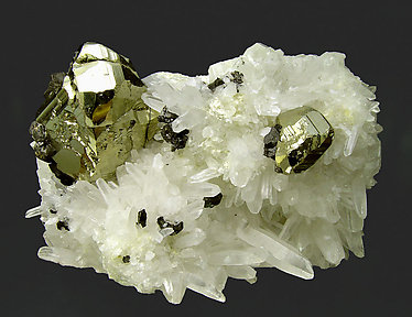 Pyrite with Quartz and Sphalerite.