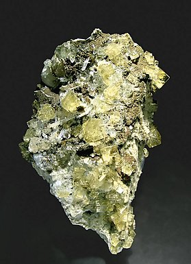 Fluorite with Gypsum, Calcite, Celestine and Pyrite.