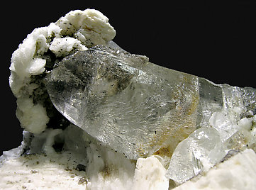Topaz with Albite, Orthoclase, Muscovite and Fluorapatite.