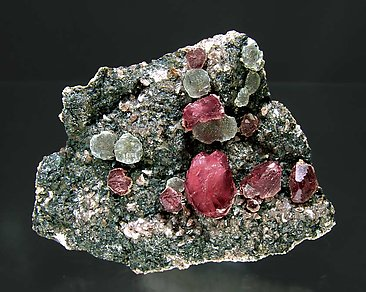 Rhodochrosite with Fluorite.