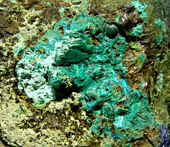 Tyrolite with Chrysocolla and Azurite.
