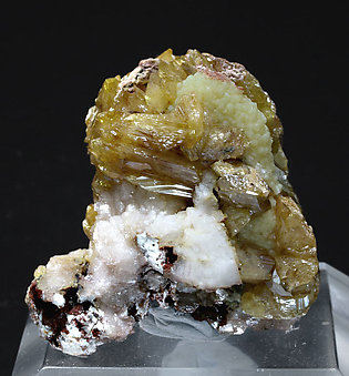 Wulfenite with Mimetite and Calcite. Front