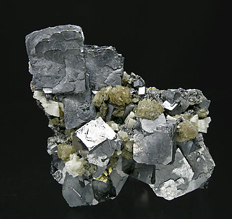 Galena with Siderite, Dolomite and Chalcopyrite.