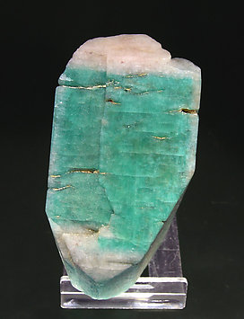 "Microcline (variety amazonite) ""whitecap"". Top"