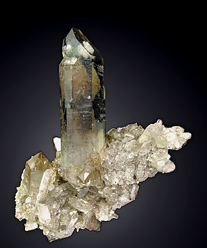 Smoky Quartz with inclusions and Chlorite.